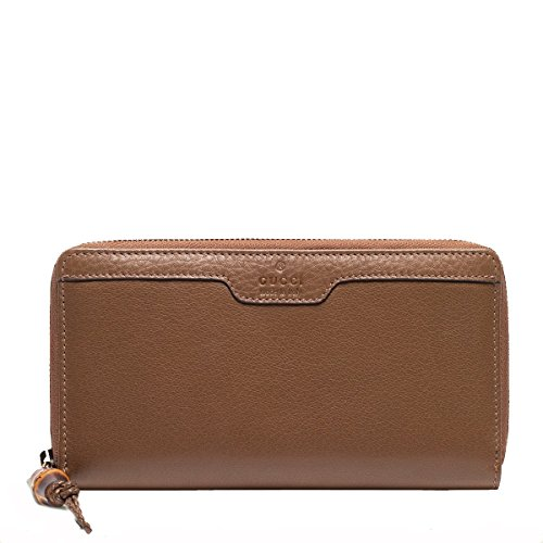 Gucci Hip Bamboo Brown Deer Leather Zip Around Wallet, 339178