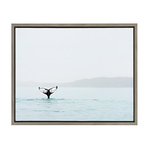 Kate and Laurel Sylvie Whale Tail Framed Canvas Art by Amy Peterson 18x24 - Photography Ocean Art