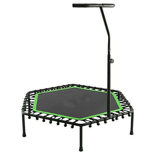 Mini Rebounder Trampoline with Adjustable Handle Bar Bungee-Rope-System Trainer (green)