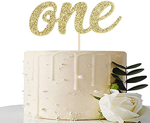 Gold Glitter One Cake Topper For Baby Shower First Anniversary