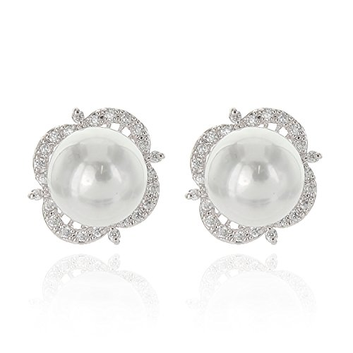 Pearl Nickel Metal Brilliance - Round Simulated Pearl AAA Cubic Zirconia Women's Fashion Accessories Stud Earrings in Silver