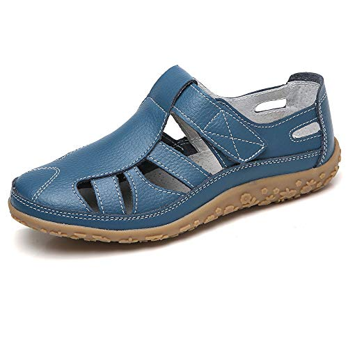 (Fortuning's JDS Soft Leather Flat Sandals for Women, Summer Casual Shoes Comfortable Lightweight Non-Slip Sole Velcro Strap Hollow Closed Toe Sandals Blue, 10)
