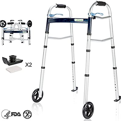OasisSpace Compact Folding Walker, with Trigger Release and 5'' Wheels for The Seniors [Accessories Included] Narrow Lightweight Supports up to 350 lb