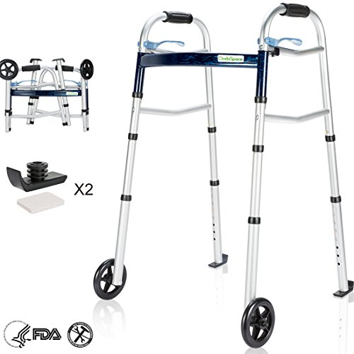 OasisSpace Compact Folding Walker, with Trigger Release and 5'' Wheels for The Seniors [Accessories Included] Narrow Lightweight Supports up to 350 lbs
