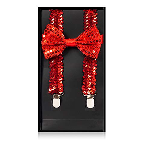 Buha Suspenders for Men, 2 in 1 Suspenders and Bow Tie, Mens Outfits Casual Suspender and Bow Tie Special Edition (Sequins-Red) ()