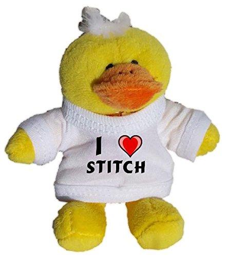Pollo de peluche (llavero) con Amo Stitch en la camiseta ...