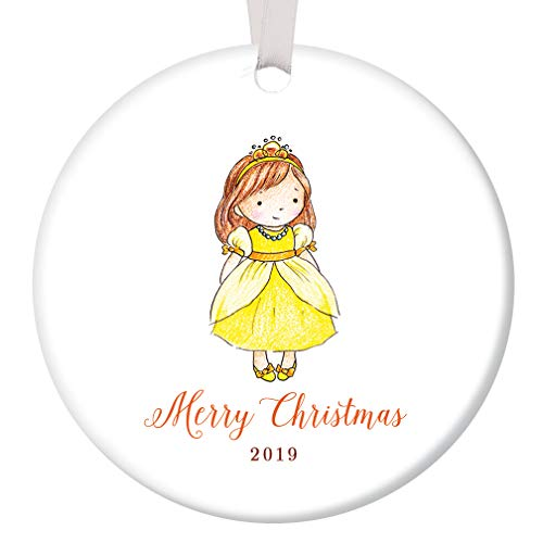 Little Girl 2019 Merry Christmas Ornament Present for Daughter Niece Stepchild Pretty Young Female Child Fairy Princess 3