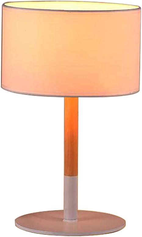 Lampe de chevet en bois de tissu LED, tissu abat-jour blanc ...
