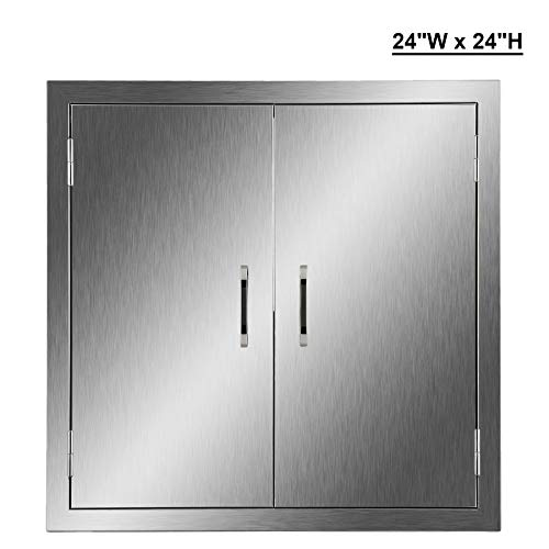 CO-Z Outdoor Kitchen Doors, 304 Brushed Stainless Steel Double BBQ Access Doors for Outdoor Kitchen, Commercial BBQ Island, Grilling Station, Outside Cabinet, Barbeque Grill, Built-in (24