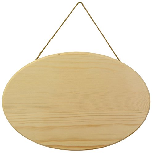 Lara's Crafts Oval Wood Plaque with Jute Hanger, 9.75