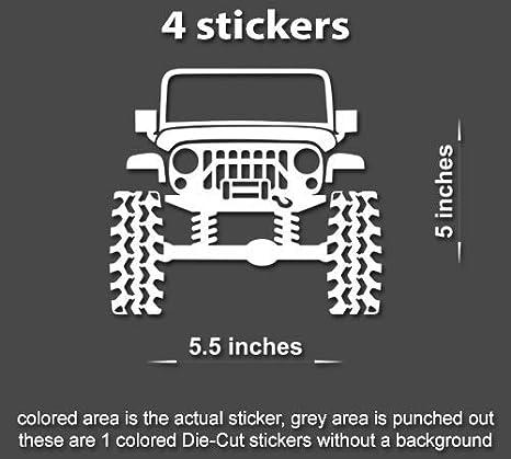 4x Lifted Jeep Wrangler TJ JK YJ JL Decals Stickers lift 4x4 mud Window TruckCar