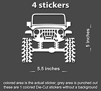 Lifted Jeep Wrangler >> Amazon Com 4x Lifted Jeep Wrangler Tj Jk Yj Jl Decals