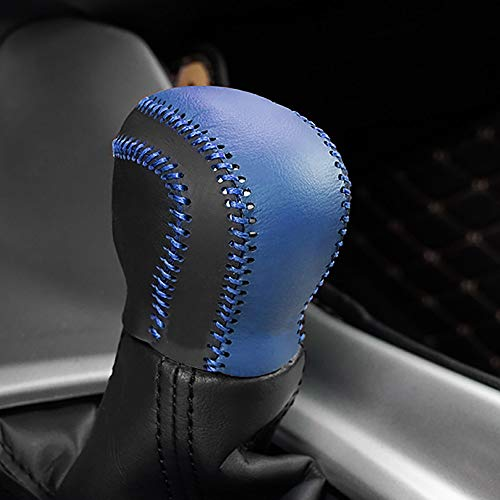 Car Genuiner Leather Gear Shift Cover Black with Blue Gear Shift Knob Cover for Toyota C-HR 2018