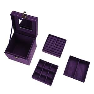 SODIAL(R) Suede Velvet Trinket Makeup Beauty Travel Vintage Box Case Purple