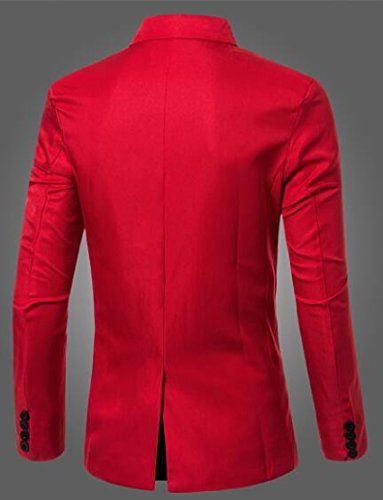 TTYLLMAO Solid Men's Blazer Button Sport Red Jacket Breasted Double Blazers Casual Suit ana4wxqUr