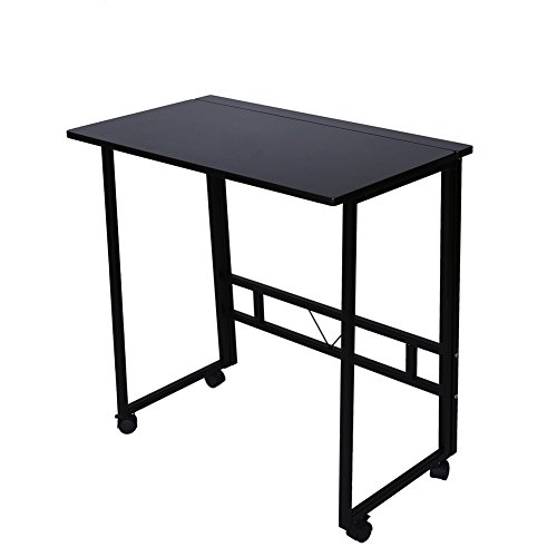 Folding Writing Table Rolling Laptop Notebook Computer Desk with Wheels Poarmeey(black) by Poarmeey