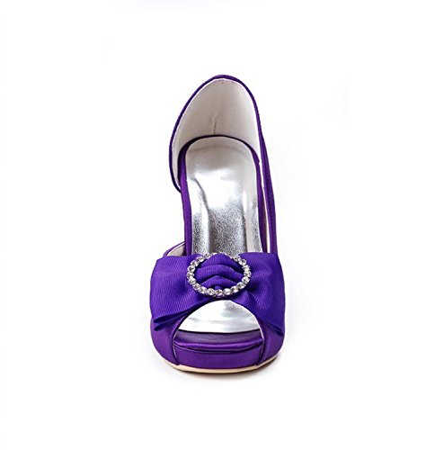Kevin Fashion gymz661señoras stiletto satén noche fiesta novia boda bowknot zapatos morado