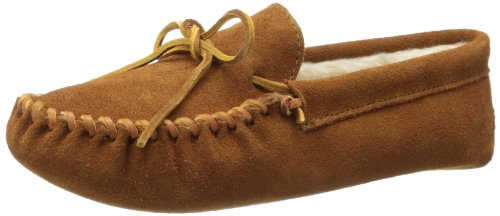 Minnetonka Men's Pile Lined Softsole Moccasin Slipper (Brown)-9 M -