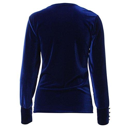 FEITONG De las mujeres Terciopelo Manga larga Tramo Camiseta Camisa de entrenamiento Jersey suelto Tops Blusa Azul