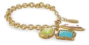 """T Tahari """"Cool Colors"""" Multi-Stone Charm Bracelet"""