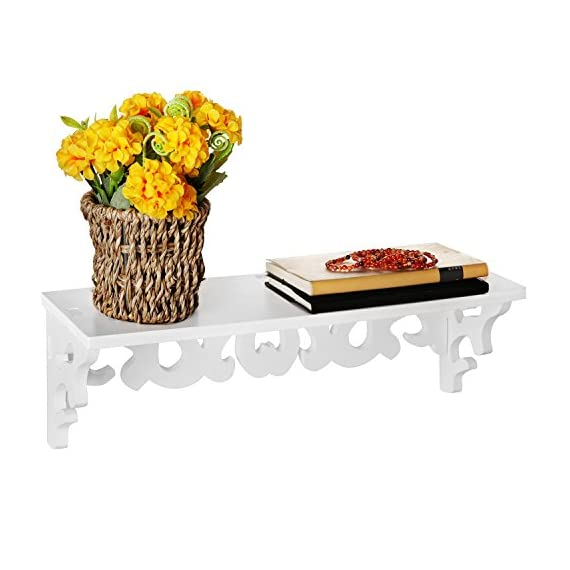 MyGift White Cutout Scrollwork Design Wall-Mounted Floating Shelves, Set of 2 (16 inch and 24 inch) - A set of 2 contemporary wall-mounted shelves with glossy white finish. Features a 16-inch and 24-inch floating shelves with cutout scrollwork design for displaying books, collectibles, pictures and kitchen spices. Can be easily mounted to any wall with proper mounting hardware. - wall-shelves, living-room-furniture, living-room - 41dqB%2BwFdvL. SS570  -