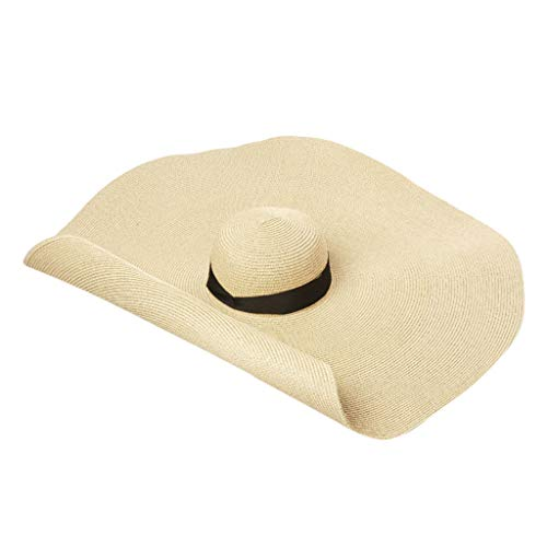 hositor Sun Hats for Women, Fashion Large Sun Hat Beach Anti-UV Sun Protection Foldable Straw Cap Cover Beige ()