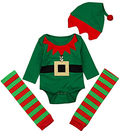 Baby Christmas Cartoon Elf Costume Long Sleeve Romper+Stripe Leg Warmer+Cap 3Pcs Set Size 18-24Months/Tag100 (Green)
