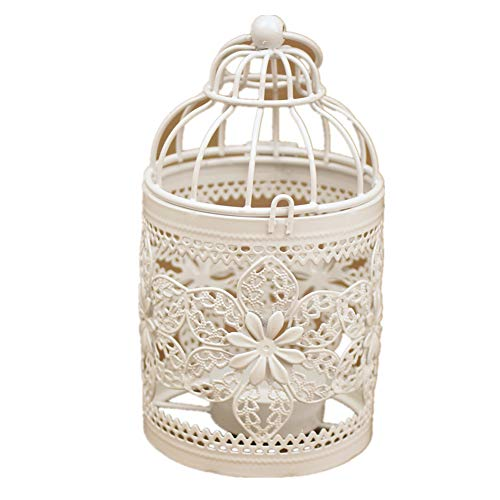 - Homegoal Fashion Hanging Bird Cage Candle Holder Candlestick Lantern Wedding Party Light (White)