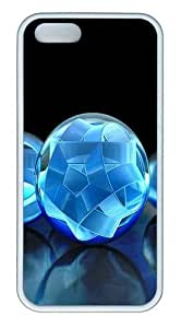3D Crystal Sphere TPU Silicone Rubber iPhone 5 and iPhone 5S Case Cover - White