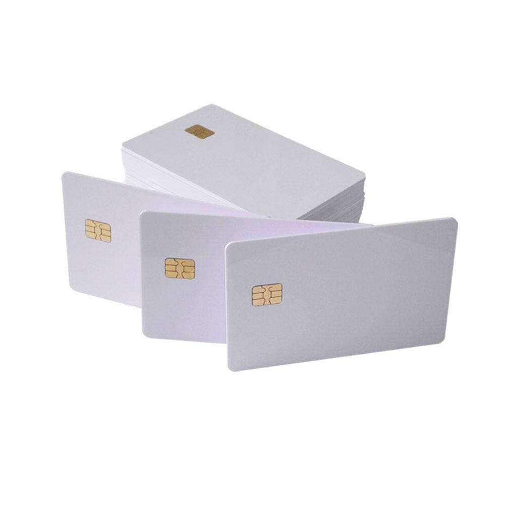 Waizmann.IDeaS/® Plastikkarten Blankokarten Chipkarte SLE 4442 aus PVC wei/ß 86 x 54 x 0,76mm gl/änzend laminiert bedruckbar wei/ß
