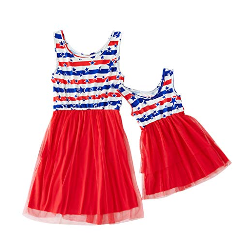 Chiccc Family Matching Dress 2019 Newest Mommy&Me Women's Sleeveless Printing Stars Family Clothes Dress 4th Of July ()