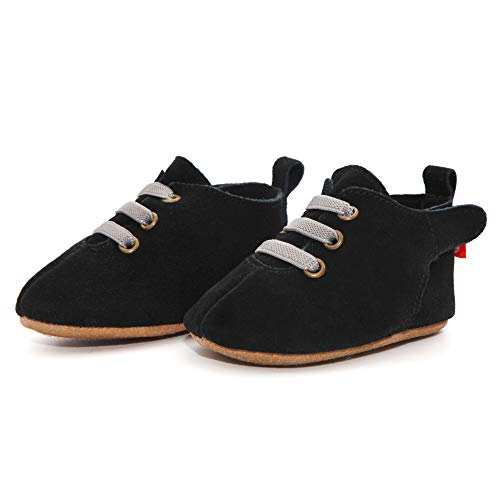 Zutano Easy On Leather Oxford Baby Shoes, Anti-Slip and Soft Sole, Black, 12M ()