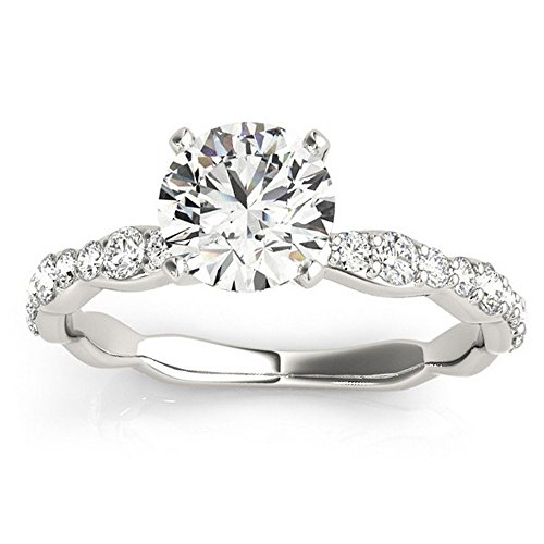 Women's Solitaire Contoured Shank Prong Set Diamond Engagement Ring Setting Palladium (0.33ct)