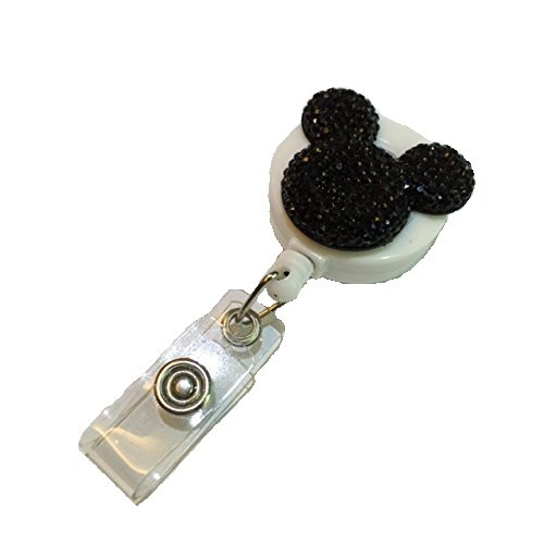 Black Bear Decorated Retractable Badge Reel ID Holder with Clip -