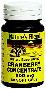 Nature's Blend Cranberry Concentrate 500 mg Soft Gels - 60 ct, Pack of 2 Blend Concentrate