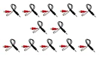 C&E 12 Pack3.5mm Stereo Male to Dual RCA Female Red & White Audio Adapter Cable, 6 Inch,CNE500886