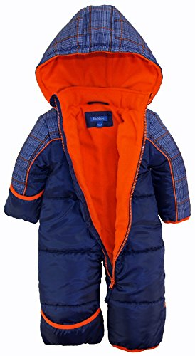 iXtreme Baby Boys Plaid Expedition Puffer Winter Snowsuit Pram, Navy, 18 Months by iXtreme (Image #2)
