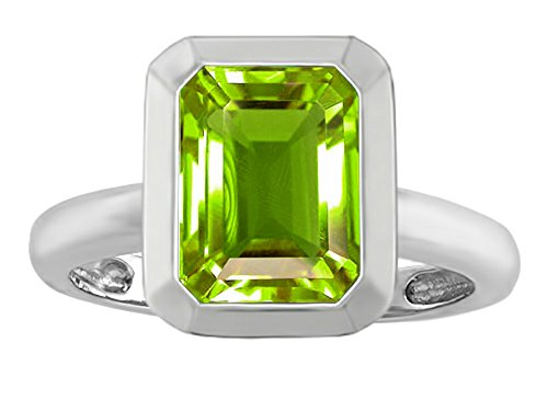 Octagon Cut Ring (Star K 9x7mm Emerald Cut Octagon Solitaire Ring with Simulated Peridot Sterling Silver Size 6)