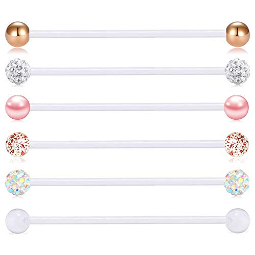 - FECTAS 14G Industrial Barbells Cartilage Piercing Flexible Bar Helix-Conch Piercing Bar 6PCS 1 1/4in(32mm) 6PCS