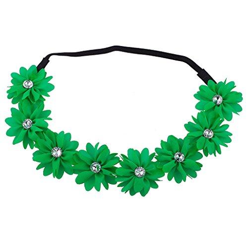 Lux Accessories Green Flower Floral Chiffon Headband -