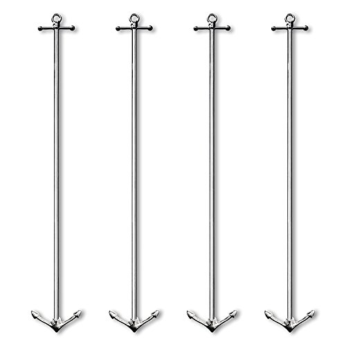 (4 Pc Tall Anchor Original Hip-Stirrer Metal Swizzle Cocktail Stirrer Set no box)