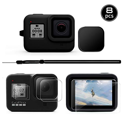 [8pcs] MAXCAM Accessories Kit for GoPro Hero 8 with Silicone Rubber Protective Case + Lens Cap + 4pcs Ultra Clear Tempered Glass Screen Protector + 2pcs Display HD Lens Protector with GoPro Hero 8