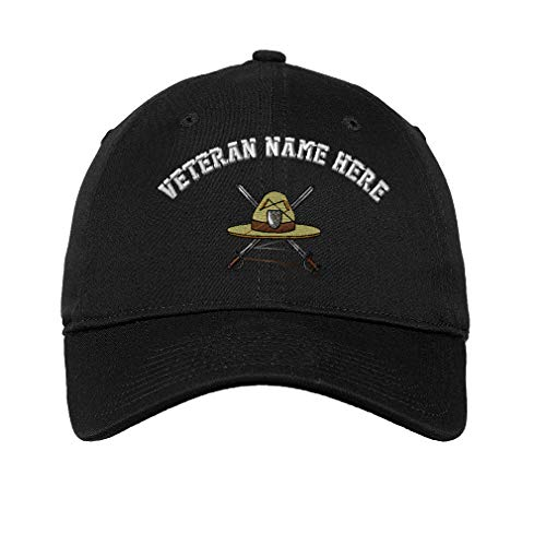 Custom LowProfileSoft Hat Military Drill Instructor Hat Embroidery Veteran Cotton Dad Hat Flat Solid Buckle - Black, Personalized Text Here