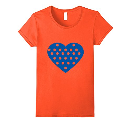 Womens Blue heart shape polka dot tee t shirt Medium Orange Polka Dot Heart T-shirt