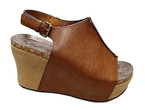 MVE Shoes Women's Back Buckle Strap Wedge - Open Toe Heeled Sandal - Faux Leather Fashion Platform, Whiskey Size 8 (Brown Sandals Leather)