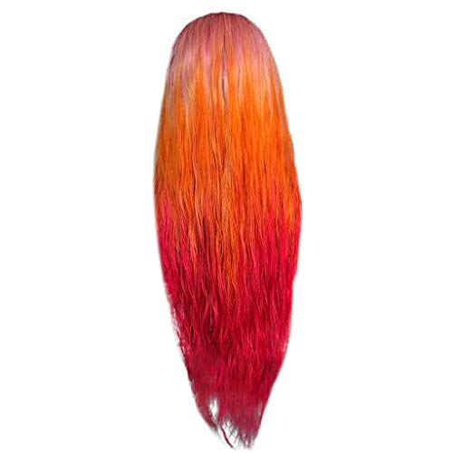 Rainbow Lace Front Wigs Long Curly Synthetic Wig Hair Replacement Wigs for Women Mother's Day (a)