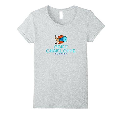 Womens Port Charlotte Florida T-Shirt, FL Fun Fish T-Shirt Large Heather - You Fit Port Charlotte