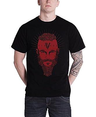 Vikings T Shirt Ragner Face Tv Show Official Mens Black