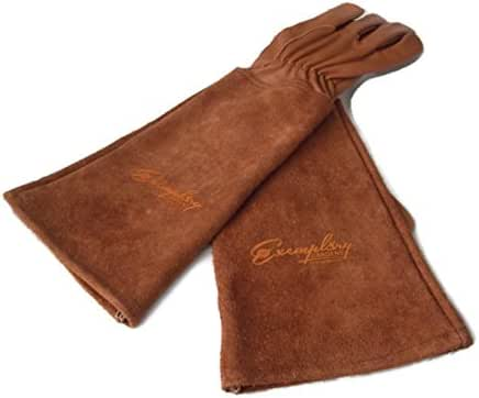 Rose Pruning Gloves for Men and Women. Thorn Proof Goatskin Leather Gardening Gloves with Long Cowhide Gauntlet to Protect Your Arms Until The Elbow (Large, Brown)