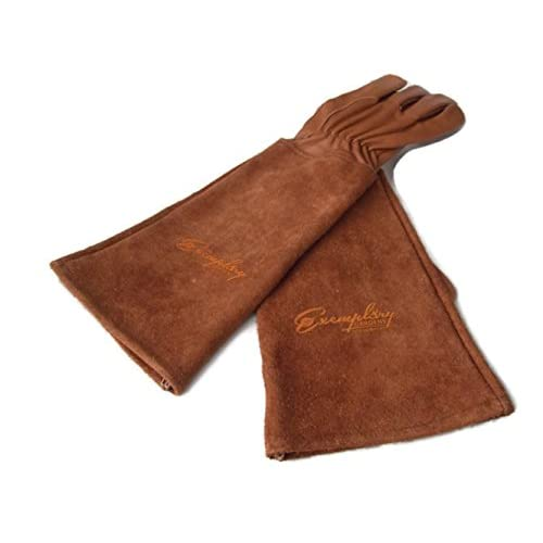 Rose Pruning Gloves for Men and Women. Thorn Proof Goatskin Leather Gardening Gloves with Long Cowhide Gauntlet to Protect...